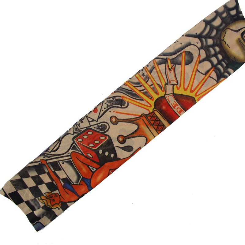 New Hot 6pcs New Nylon Elastic Fake Temporary Tattoo Sleeve Designs Body Arm Stockings Tatoo For Cool Men Women  YAA99