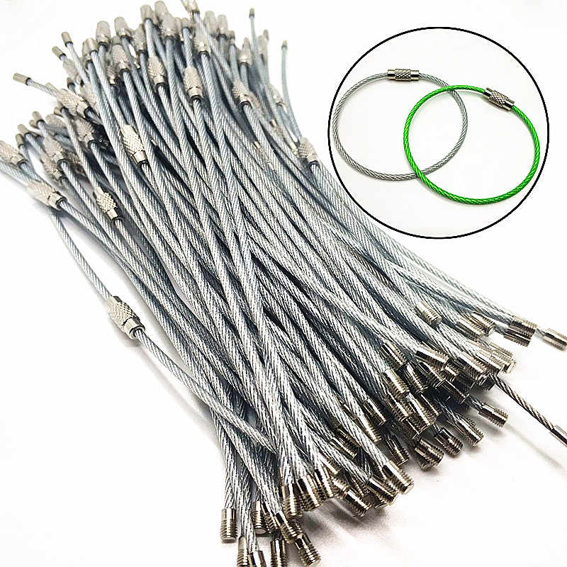 "100pcs 8/"" Stainless Steel 20cm Wire Keychain Cable Key Ring Chains for Outdoor 5"