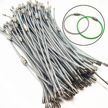 10、50pcs EDC Keychain Tag Rope Stainless Steel Wire Cable Loop Screw Lock Gadget Ring Key Keyring Circle Camp Hanging Tool