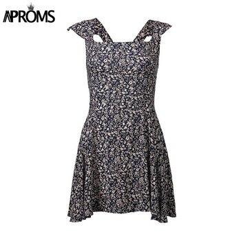 Aproms Wine Floral Print Boho Short Dress Women Backless High Waist Summer Dress Vintage Beach Dress Sundresses Vestidos 2020 3