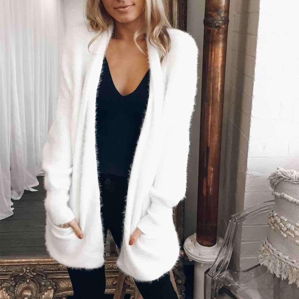 여성 긴 봉제 스웨터 코트 여성 카디건 여성 가을 겨울 카디건 플러시 모피 솜털 자켓 femme