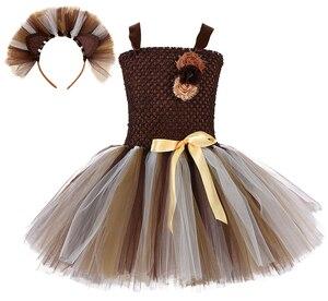 Image 1 - ילדה חום האריה טוטו שמלת תינוק בנות מסיבת יום הולדת שמלה עם סרט ילדים ליל כל הקדושים תחרות לבצע בעלי החיים Cosplay תלבושות