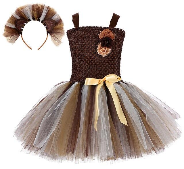 ילדה חום האריה טוטו שמלת תינוק בנות מסיבת יום הולדת שמלה עם סרט ילדים ליל כל הקדושים תחרות לבצע בעלי החיים Cosplay תלבושות