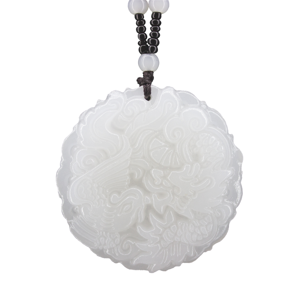 Beautiful Genuine Handmade Natural White Jade Carved Dragon Phoenix Pendant Necklace Fashion Carving Pendants Jewelry Beautiful Genuine Handmade Natural White Jade Carved Dragon Phoenix Pendant + Necklace Fashion Carving Pendants Jewelry