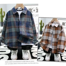 100% cotton boy's long-sleeved shirt 3-13 years old new spring and autumn Korean children's plaid brushed shirt shirt for boys