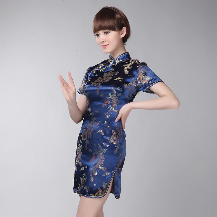 Navy Blue Phoenix Women Traditional Chinese Style Qipao Vintage Short Sleeve Tight Dress Big Size 3XL Vestidso MINI Cheongsam