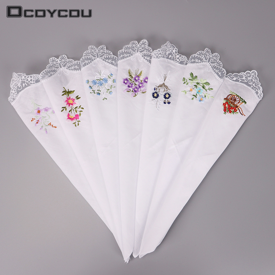 Vintage Cotton Handkerchief Girl Napkin Embroidered Women Napkin Embroidered Butterfly Lace Flower Handkerchief 5PCS
