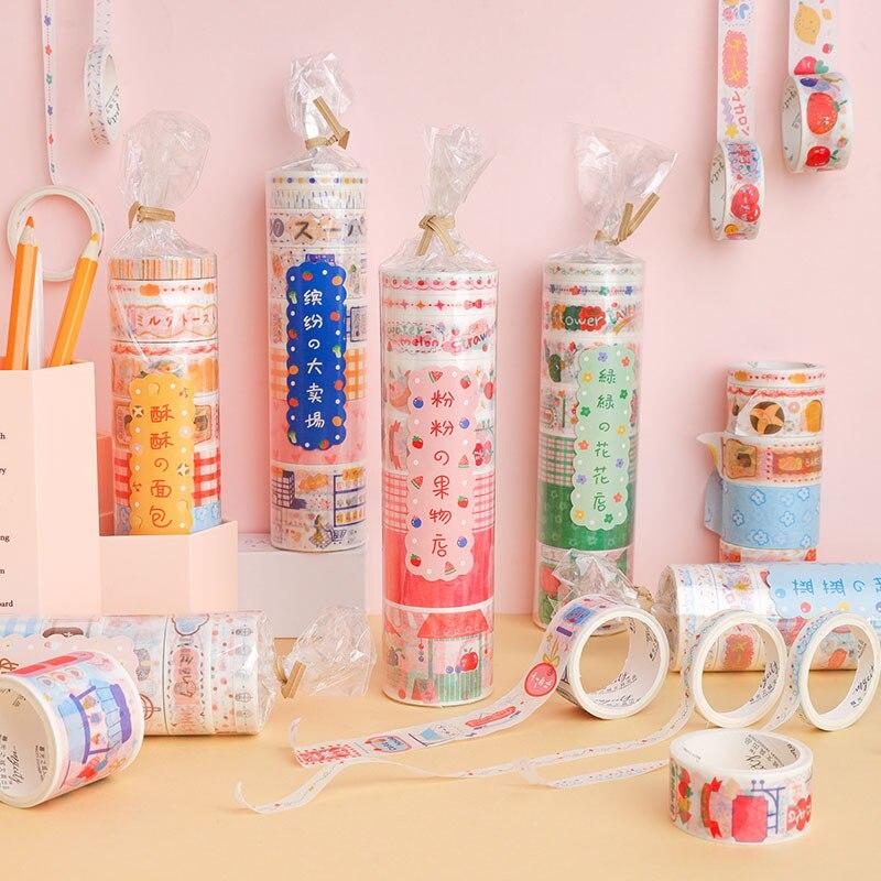 8PCS/Set Kawaii Cute Lovely Washi Tape Set Japanese Paper Masking Tape Pack Washi Stickers Planner Diary DIY Decor Sweet Gift