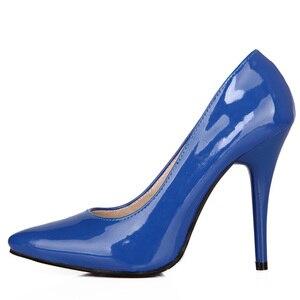 Image 1 - אופנה גבוהה עקבים משאבות אישה נעלי ירוק עירום אדום כחול נשים של נעלי מפלגה נעלי חתונת משרד גבירותיי גדול גודל 44 47