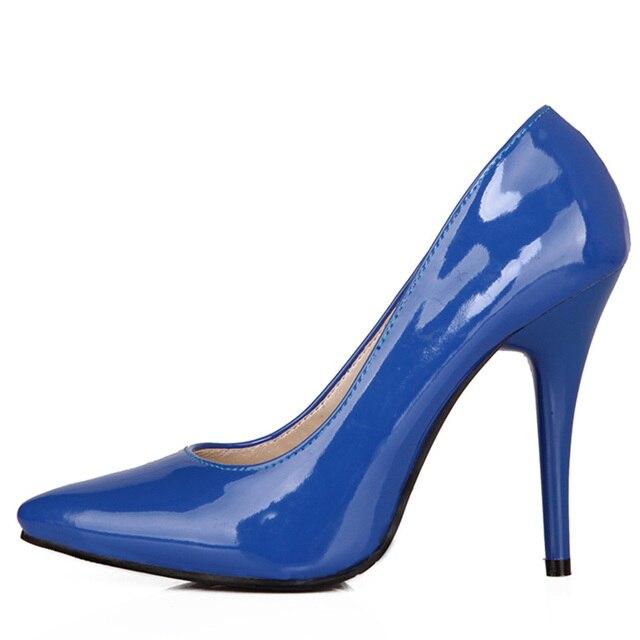 אופנה גבוהה עקבים משאבות אישה נעלי ירוק עירום אדום כחול נשים של נעלי מפלגה נעלי חתונת משרד גבירותיי גדול גודל 44 47