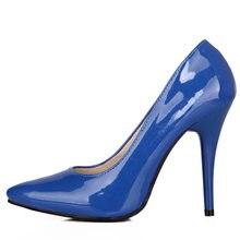 Escarpins à talons hauts pour femmes, chaussures à la mode, vert, Nude, rouge, bleu, pour fête, bureau, mariage, grande taille 44 47