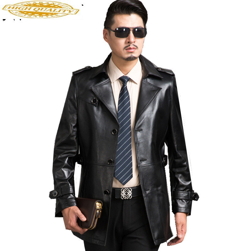 Real Leather Jacket Men Coat Chaqueta Cuero Hombr 2020 Fashion Black Genuine Mens Leather Jacket Brand Clothing FYY584