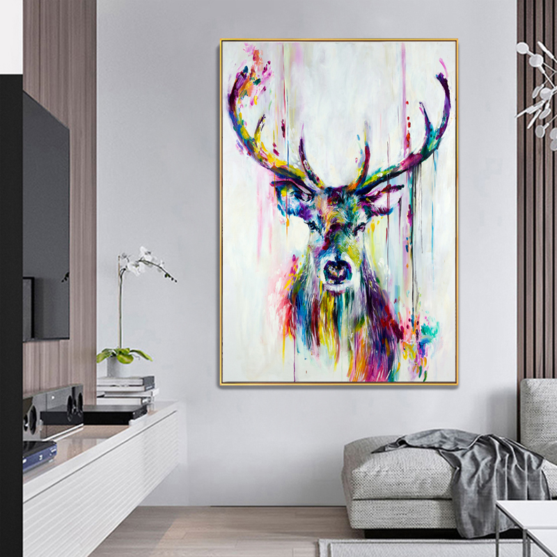 SELFLESSLY Pop Art Canvas Painting Nordic Animal Deer Pictures Canvas Print Posters Unframed Wall Art Pictures Graffiti Art