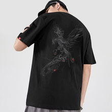 2021 Spring and Summer New Cotton Trend Loose Short-sleeved T-shirt Male National Tide Chinese Style Men's Phoenix Embroidery Ha