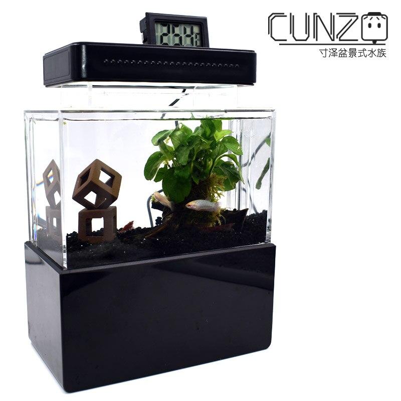Mini Aquarium en plastique Portable Aquarium aquaponique de bureau bol à poisson Betta avec Filtration de l'eau LED et pompe à Air calme pour la décoration - 4