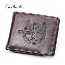 CONTACTS cartera de cuero genuino para 100%, monedero pequeño para hombre, billetera plegable, tarjetero
