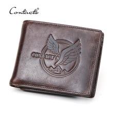 Contacts novo 100% carteira de couro genuíno dos homens pequena bolsa de moeda curto masculino sacos de dinheiro bifold carteiras alta qualidade titular do cartão