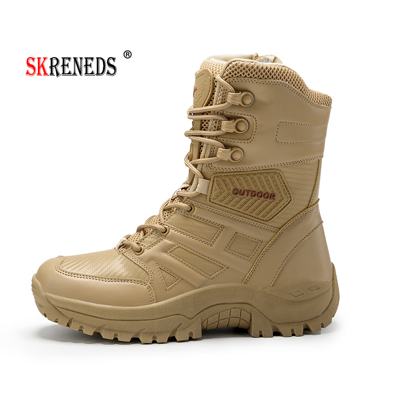 SKRENEDSMen High Quality Brand Military Leather Boots Special Force Tactical Desert Combat Men's Boots Outdoor Shoes Ankle Boots