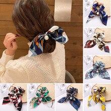 Moda floreale stampato Bowknot capelli Scrunchies per le donne titolare coda di cavallo corda per capelli cravatte elastici accessori per capelli copricapo