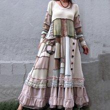 2019 nuevos vestidos de mujer Otoño Invierno Vintage Patchwork Casual manga larga Retro de algodón Maxi Robe vestido grande suelto de talla grande