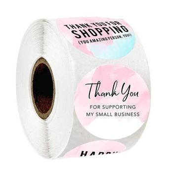 Pink Thank You Stickers For Supporting My Business 500pcs 1'' Circle Paper Handmade Label Sticker For Package Stationery Sticker