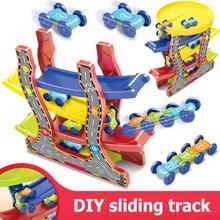 Racing Track Play Set Kids Children Educational DIY Slide Car Toy Four-layer Inertial Sliding Plastic Car Toys Random Color