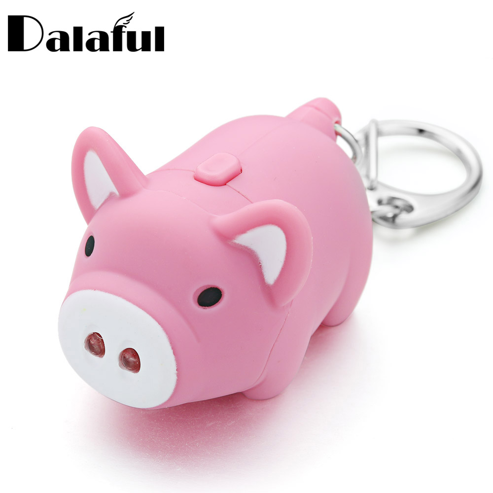 1Pc Cartoon Pig Led Keychains With Sound Flashlight Creative Kids Toys Key Rings Chians Jewelry Child Gift K380