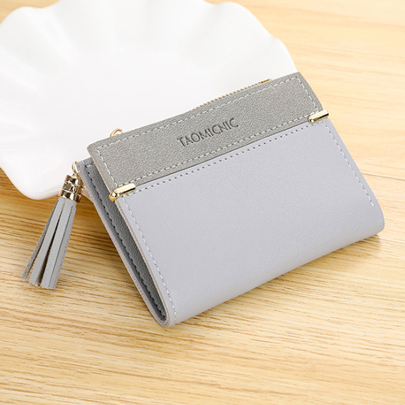 New Ladies PU Leather Tassel Wallet Women's Short Wallet Girls Scrub Coin Purse Multi-card Buckle Female Small Zipper Wallet 2cm