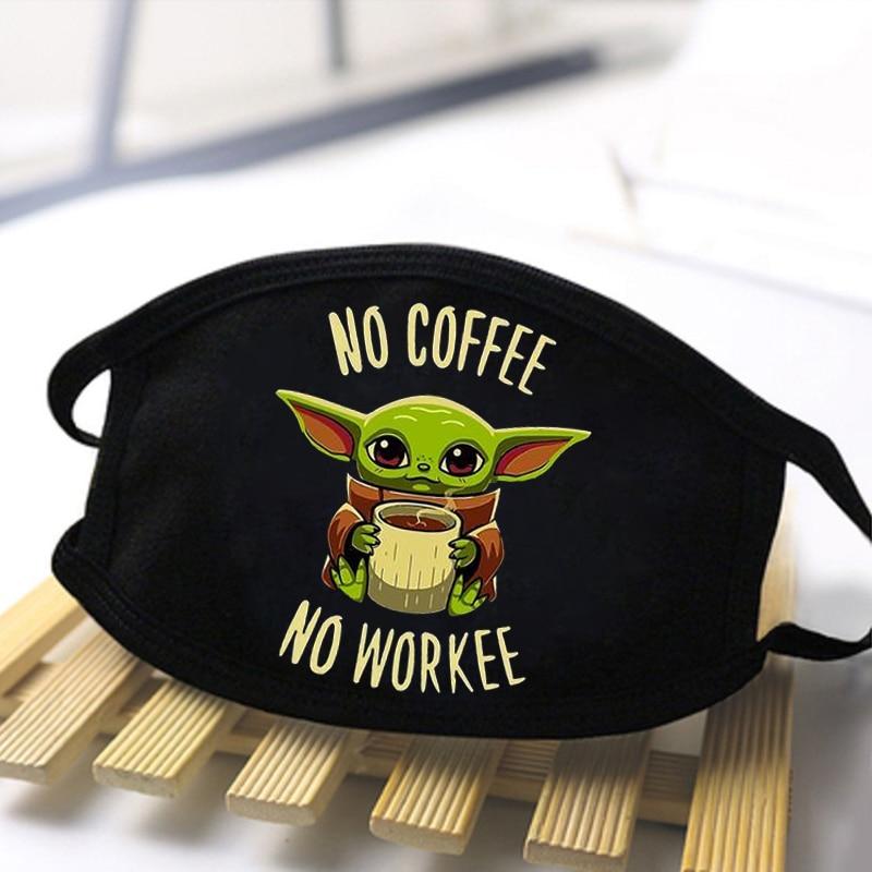 Baby Yoda No Coffee No Workee Masks Men Masque Mandalorian Dustproof Mouth Face Mask Washable Reusable Protective Mascarillas