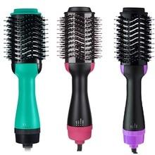 Professional Hair Straighten Steam Brush Comb Negative Lonic Straightener Curler 2in1 Curling Blower Dryer
