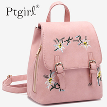 2019 Fashion Women Leather Backpacks Female School bags for Girls Ptgirl Rucksack Small Floral Embroidery Flowers Bags Mochila