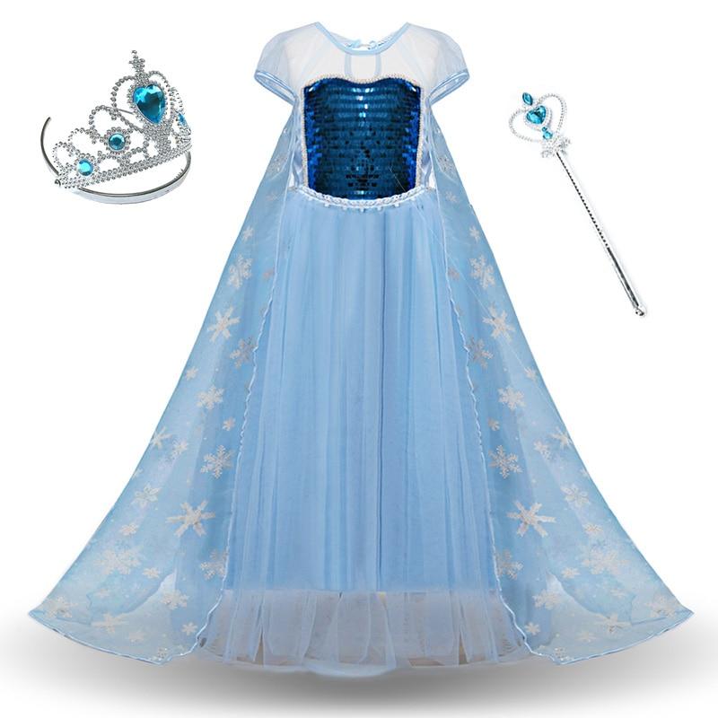 Girls Elsa Elza Princess Dress Kids Summer Sequined Costume Children Vestidos Halloween Birthday Party Cosplay