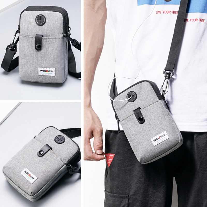 Fashion Pria Messenger Tas Ponsel Saku Tas Selempang untuk Pria Bahu Tas Multifungsi Pria Kecil Flap