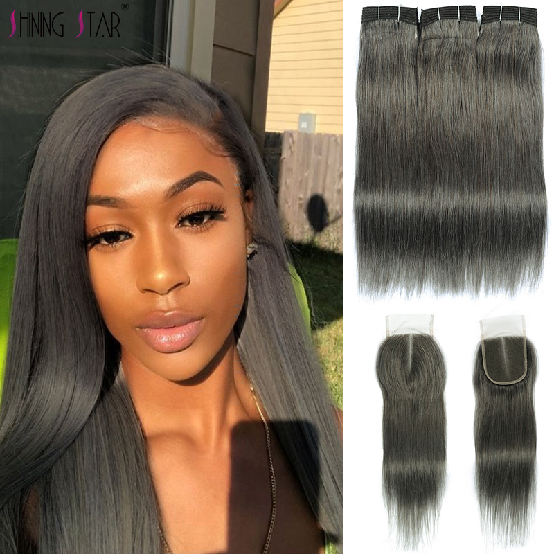 Shining Star 3 Grey Human Hair Bundles With Closure Pre-Colored Linen Gray Malaysian Straight Hair Bundles With Closure Non-Remy