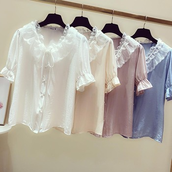 Summer Blouse Women 2020 Shirt Tops Pleated Ruffles Lace Patchwork Peter pan Collar Bowknot Butterfly Half Sleeve Solid Clothing lace hollow bowknot blouse