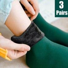 3 pares de inverno feminino meias quentes engrossar térmica náilon cashmere cor sólida meias macio botas de veludo neve chão sono preto meia