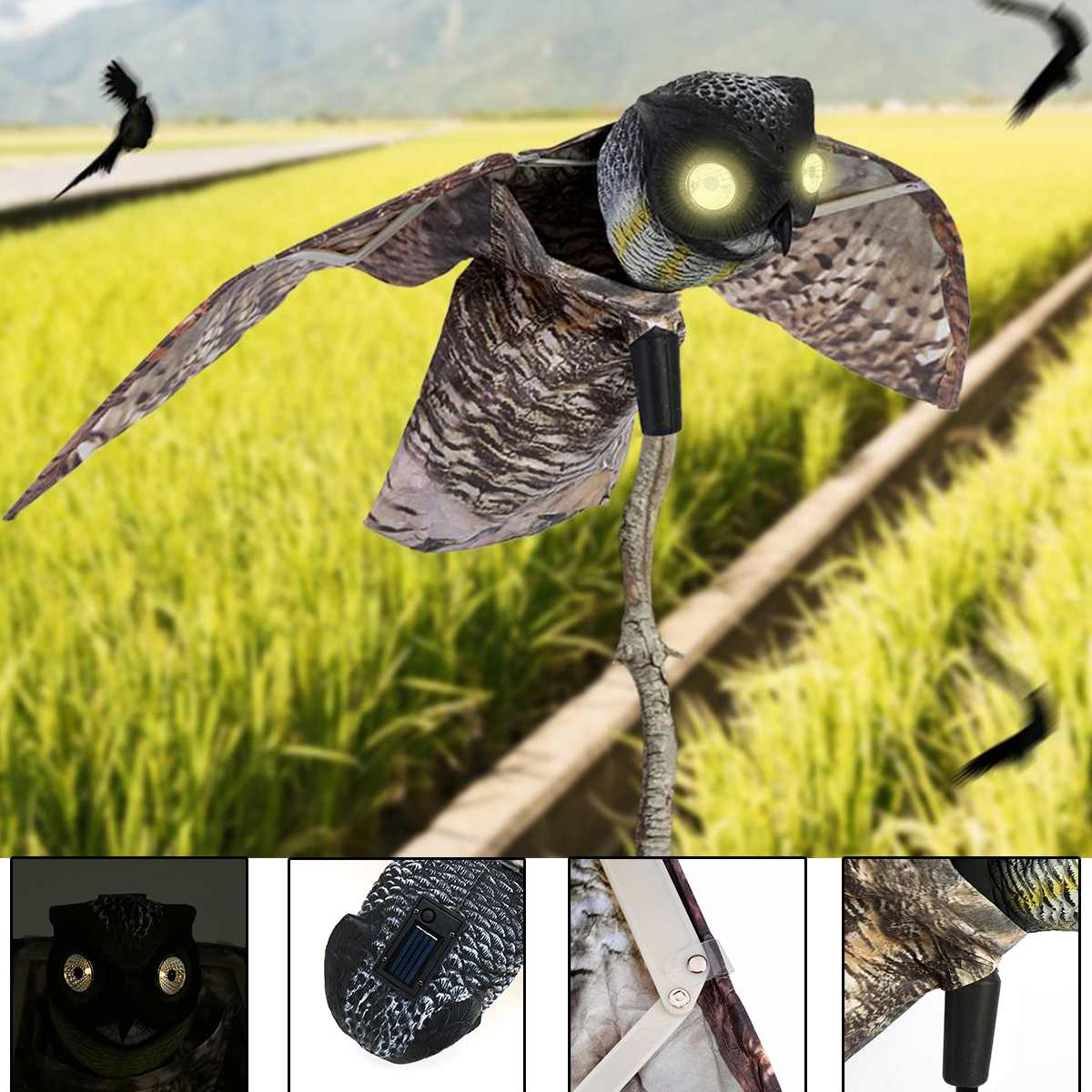 Bird Scarer Dynamic Moving Wings Realistic Plastic Fake Owl Decoy Pest Repellent Bird Scare Garden Yard Decor Outdoor Decoration