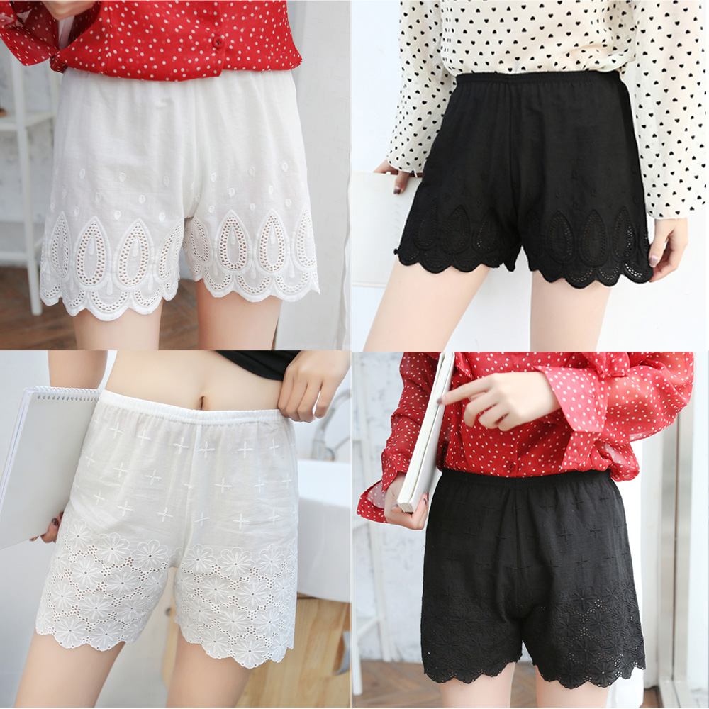 Ladies Elastic Soft Safety Short Pants Loose Hollow Lace Bottoming Shorts JLWOM0325