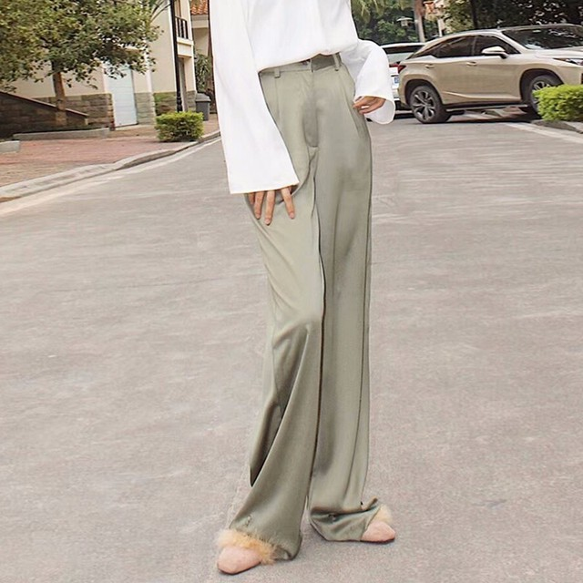 CHICEVER Summer Casual Solid Pants For Women High Waist Zipper Pocket Big Large Size Long Wide Leg Pants Fashion Clothing New 3