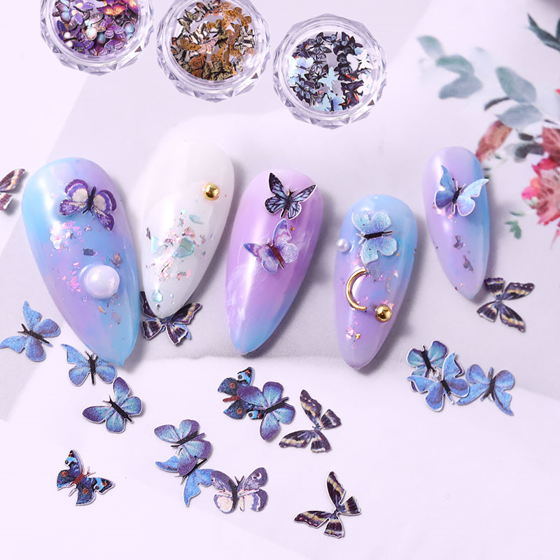 New 100 Pcs Butterfly Sequins 3D Nail Art Decorations Emulational Design Japanese Style Manicure Design Accessories