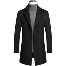 Autumn/winter new mens woollen warm coat middle-aged lapel cotton  padded casual plain gentlemans