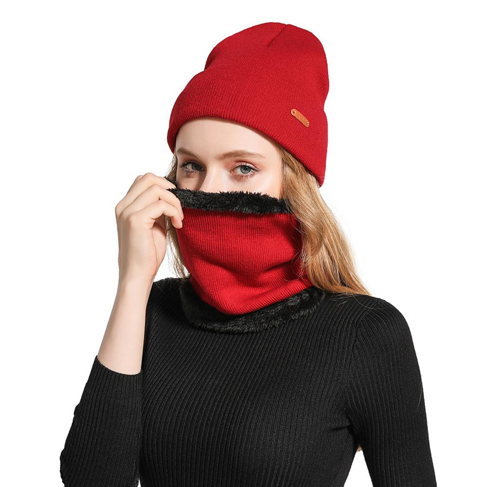 Female Woven Winter Hat Neck Scarf Set Men Women Autumn Warm Beanie Neck Scarf Woolen Hat For Autumn Cycling