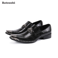 Batzuzhi Luxury Handmade Men's Shoes Iron Toe Black Genuine Leather Dress Shoes Men Slip on Formal Zapatos Hombre, Sizes 38-46 new arrival black alligator genuine leather handmade metal tip spikes pointed toe slip on formal dress shoes sexy fashion mans