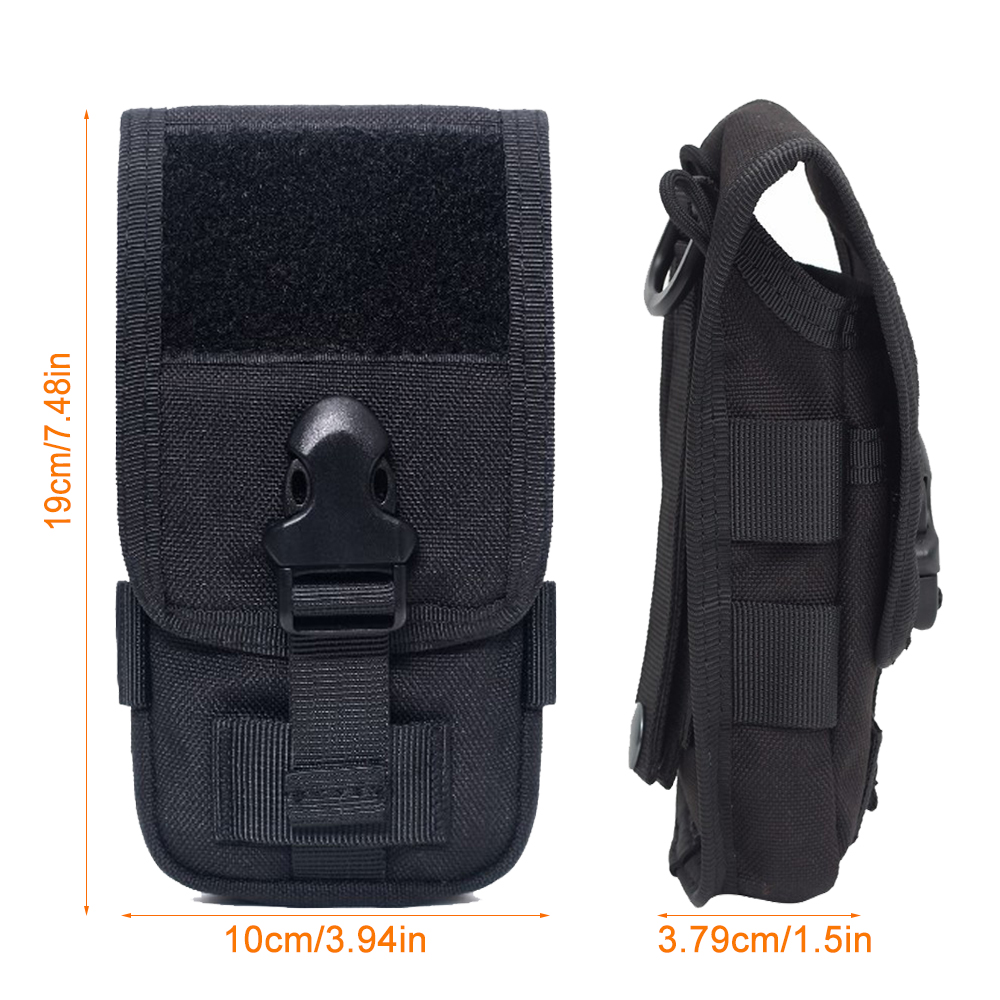 1000D Tactical Double Layer Phone Pouch Military Molle System Uility EDC Gadget Bag Smartphone Holder Bag with Belt Loop Hook