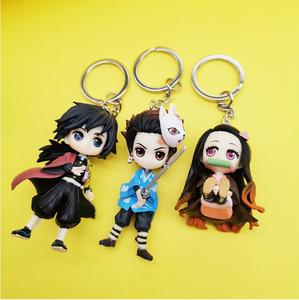 Image 5 - 6pcs/set Anime Demon Slayer Action Figure Toy Llaveros Kimetsu No Yaiba KeyChains Pendant Doll Toys