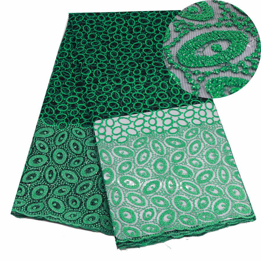 Verde Tessuto Africano Del Merletto Ricamato Nigeriano Guipure per la Cerimonia Nuziale di Alta Qualità Francese di Tulle Tessuto di Pizzo