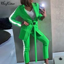 Hugciat 2019 reflective patchwork belt blazer pants 2 pieces set autumn winter w