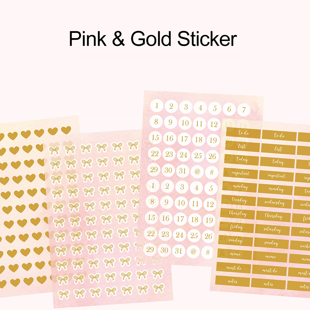 Lovedoki Pink Foil Gold Bullet Journal Stickers Love Heart-shaped Label Sticker Diary Planner Scrapbooking Christmas Stationery