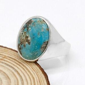 Image 4 - Prawdziwe 925 srebro pierścionek dla człowieka z niebieski kamień naturalny Vintage eleganckie pierścionki mężczyzna kobiet Unisex turecki ręcznie robiona biżuteria