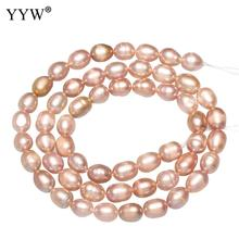 Cultured Rice Freshwater Pearl Beads Fashion Women Elegant Necklace Bracelet Jewelry Making 5-5.5mm Pink Purple White Pearl Bead цена